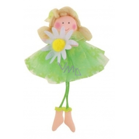Fairy with a green skirt for hanging No. 3 15 cm