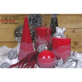 Lima Artic candle red ball 80 mm 1 piece