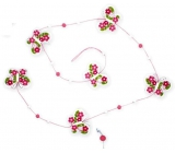 Pink-white butterfly chain, 118 cm