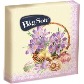 Big Soft Velikonoční papírové ubrousky košík s fialovými krokusy 33 x 33 cm 2 vrstvé 20 kusů
