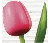 Wooden tulip 34 cm pink and white 9501