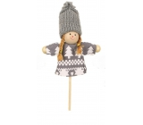 Doll in gray outfit 9 cm + skewers