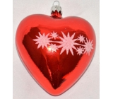 Irisa Glass flask heart red, white decorated 1 piece