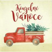 Nekupto Christmas card Car with a tree 100 x 100 mm 3572 XI