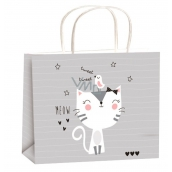 Angel Gift bag all year gray cat for children size M 23 x 18 x 10 cm