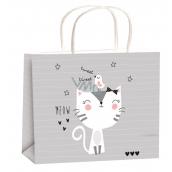 Gift bag year-round for children M gray cat 23x18x10cm