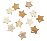 Wooden stars brown and white 4 cm, 12 pcs