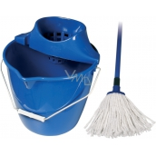 Spokar Cleaning kit Cotton bucket, wringer, mop Blue 1 set