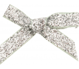 Velvet bow narrow silver glittering 8 cm 12 pieces