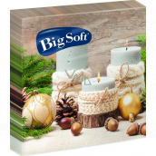 Big Soft Paper napkins 2 ply 33 x 33 cm 20 pieces Christmas Candles, flasks, nuts