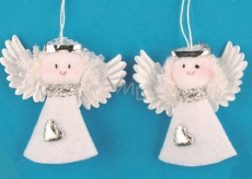 Angel from felt white 7 cm, 2 pieces in a bag
