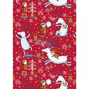 Ditipo Gift wrapping paper 70 x 200 cm Christmas red deer with baby girl