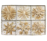 Straw decorations in box approx. 7,5 cm, 12 pieces