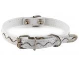 B&F Collar Leatherette adjustable stitched ripples white 1.2 x 20 - 35 cm