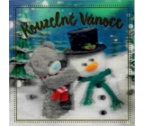 Me to You Envelope greeting card 3D Magic Christmas Teddy bear with snowman 15.5 x 15.5 cm