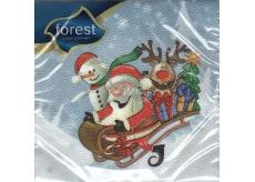 Forest Vánoční papírové ubrousky Santa na saních 33 x 33 cm 1 vrstvé 20 kusů
