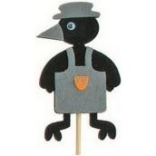 Crow in apron gray groove 7 cm + skewers 15 cm