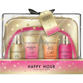 Baylis & Harding Cocktail hour Peach Bellini washing gel 100 ml + Raspberry rose shower cream 100 ml + Peach bellini body lotion 50 ml + Raspberry rose hand cream 50 ml + toiletry bag 2 pieces, cosmetic set