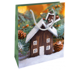 Nekupto Gift paper bag 23 x 18 x 10 cm Christmas with cottage WBM 1940 50