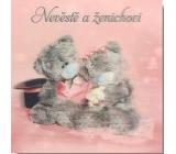 Me to You Blahopřání do obálky 3D Nevěstě a ženichovi, Sedící zamilovaní medvědi,15,5 x 15,5 cm