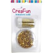 CreaFun Dekorační třpytky sada zlaté 2 tuby 8 g