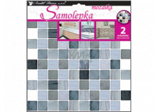 Room Decor Wall sticker plastic mosaic, imitation tiles, gray 2 sheets 25.5 x 25.5 cm