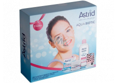 Astrid Aqua Biotic day and night cream for dry and sensitive skin 50 ml + 3 in 1 micellar water 400 ml + Trendy edition Pearl gloss toning lip balm 4.8 g, cosmetic set