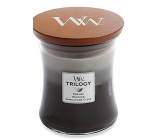 WoodWick Trilogy Cozy Cabin - Cozy log cabin scented candle with wooden wick and lid glass medium 275 g