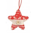 Star made of fabric for hanging 9 cm