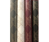 Zöwie Gift wrapping paper 70 x 150 cm Christmas Luxury Noble Stars with embossing black gold stars