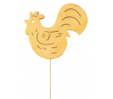 Wooden cock 8 cm yellow + wire