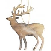 Wooden deer hanging 10 cm, burnt white 4046 8913