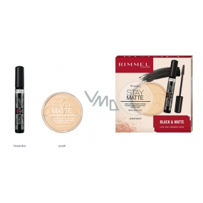 Rimmel London Black & Matte Extra Super Lash Mascara 101 Black 8 ml + Stay Matte Powder 001 Transparent 14 g, cosmetic set