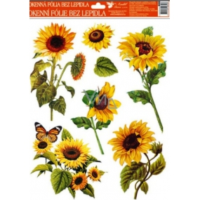 Room Decor Window foil without glue sunflower orange butterfly 42 x 30 cm 1 piece