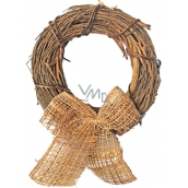 Wicker wreath with ribbon 22 cm