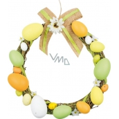 Wicker wreath with plastic eggs 25 cm