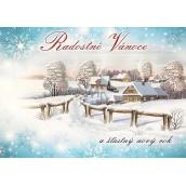 Nekupto Postcard Joyful Christmas blue, cottages