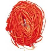 Raffia orange colored bast for decoration 30 g