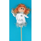 Angel figurine white recess 8 cm + skewers