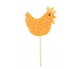 Felt hen with polka dots orange recess 7.5 cm + skewers