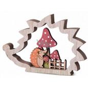 Emocio Decoration Hedgehog wooden natural, red, orange 170 x 116 mm