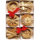 Straw ornaments in a box of 20 pieces