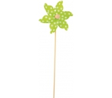 Pinwheel with large polka dots green 9 cm + skewers 1 piece