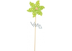 Pinwheel with large polka dots green 9 cm + skewers 1 piece