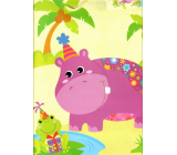 Ditipo Gift paper bag big yellow hippo 26,5 x 32,5 x 13,5 cm