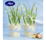 Nekupto Paper napkins 3 ply 33 x 33 cm 20 pieces Easter blue Snowdrops in a white pot