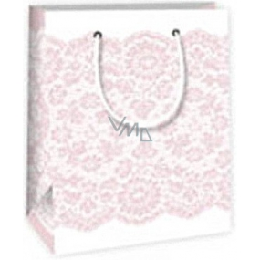 Ditipo Gift paper bag 11.4 x 6.4 x 14.6 cm white with pink lace