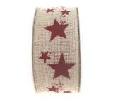 Ditipo Nordic ribbon beige red stars 2 mx 25 mm