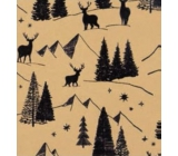 Zöllner Christmas Luxury wrapping paper with Scandi gold embossing - black trees with deer 1.5 mx 70 cm