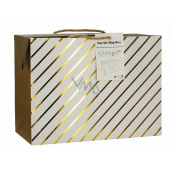 Angel Bag gift box, closable, with gold stripes 23 x 16 x 11 cm